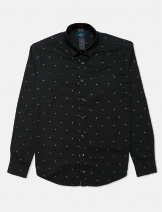 River Blue olive printed casual shirt