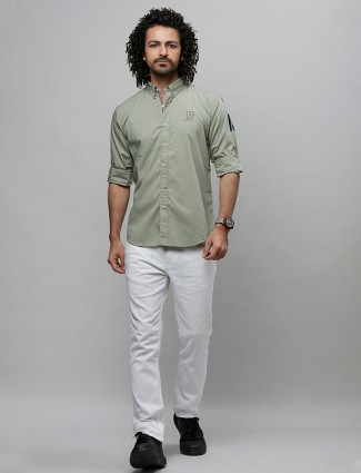 River Blue olive solid casual shirt in cotton