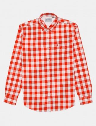 River Blue orange checks full sleeves shirt
