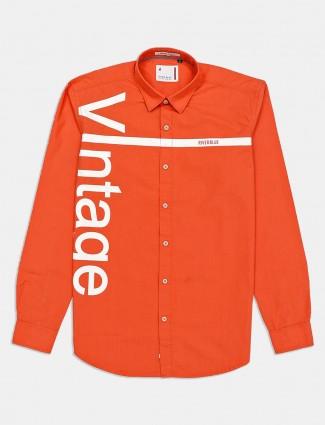 River Blue orange printed casual shirt for mens