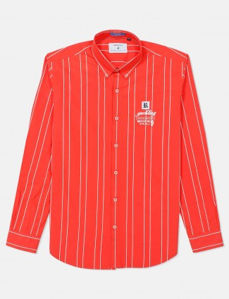 River Blue orange stripe cotton shirt
