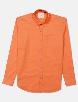 River Blue patch pocket solid orange shirt