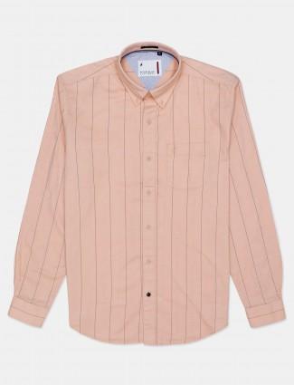River Blue peach stripe casual shirt
