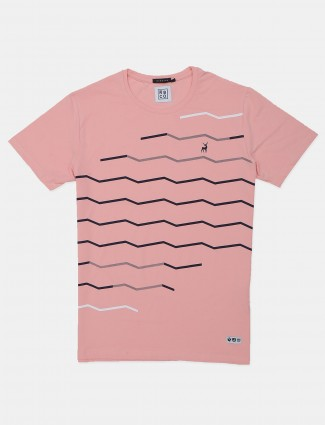 River blue pink colored printed cotton t-shirt