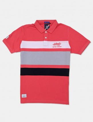 River Blue pink cotton stripe t-shirt