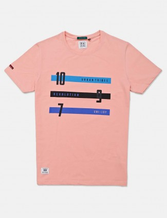 River Blue pink printed casual wear t-shirt