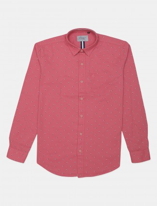River Blue pink printed cotton casual shirt