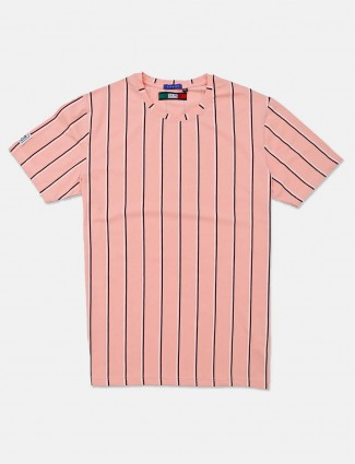 River Blue pink stripe casual wear t-shirt