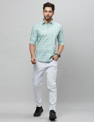 River Blue pista green casual wear shirt for men
