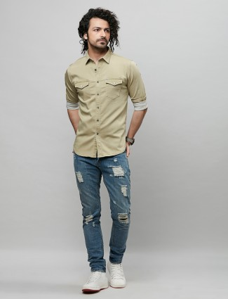 River blue pista green shade casual fit shirt