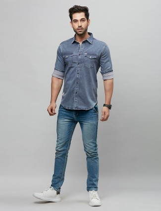 River Blue powder blue tint solid style shirt