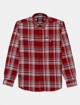 River Blue presented maroon checks shirt for mens