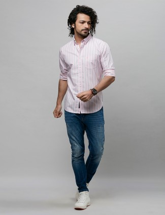 River blue presented stripe style pink shirt for mens