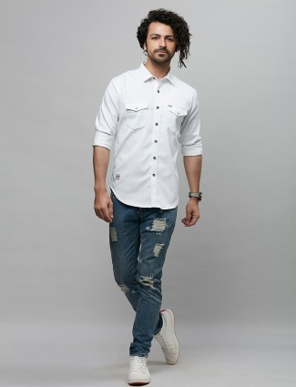 River blue presented solid white casual shirt