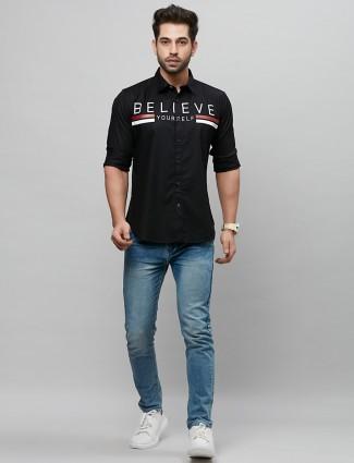 River Blue printed black shirt