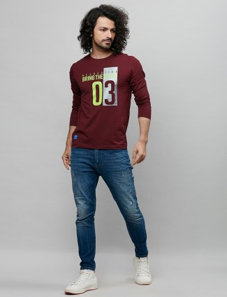 River Blue printed maroon cotton t-shirt