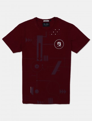 River blue printed maroon t-shirt