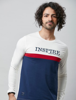 River blue printed navy t-shirt in cotton