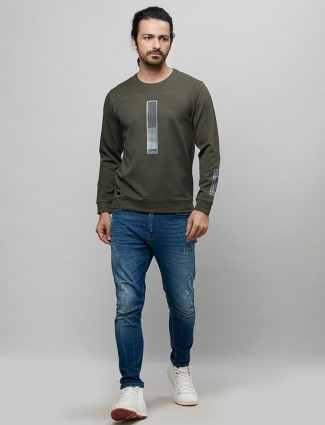 River Blue printed olive casual t-shirt