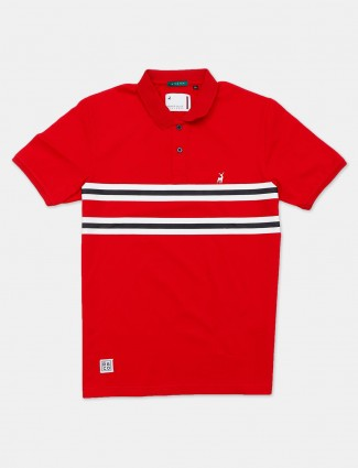 River Blue printed red polo neck polo t-shirt