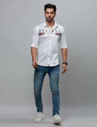 River Blue printed white hue casual shirt