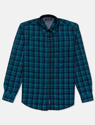 River Blue rama green checks mens shirt