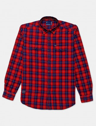 River Blue red checks cotton shirt for mens