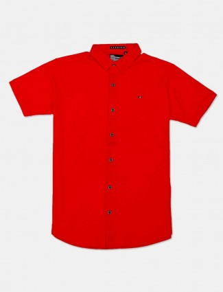River Blue red color solid shirt for mens