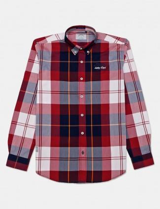 River Blue slim collar maroon checks casual shirt