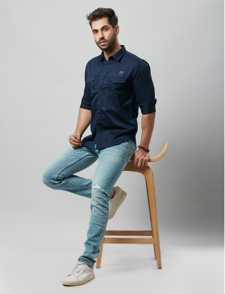 River Blue slim fit style navy shirt in cotton