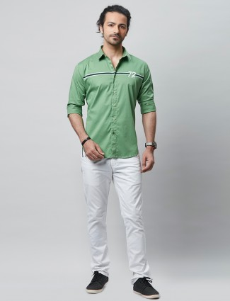 River Blue solid green cotton shirt for casual