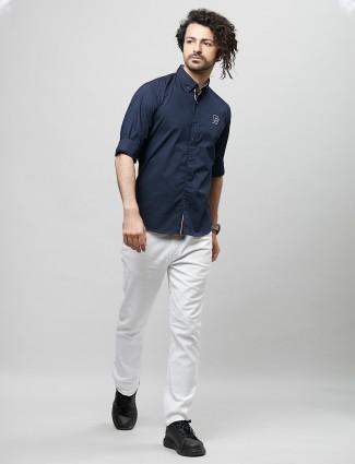 River Blue solid navy cotton casual men shirt