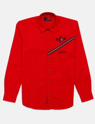 River Blue solid red cotton mens shirt