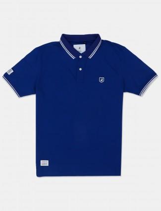 River Blue solid royal blue cotton polo t-shirt