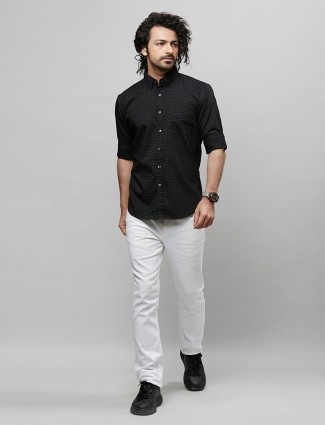 River Blue solid style black shirt in cotton
