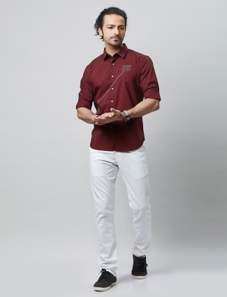 River Blue solid style maroon shirt
