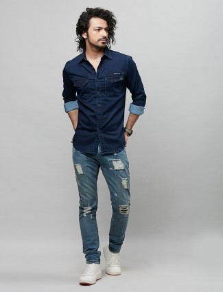 River Blue solid style navy tint shirt