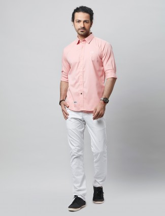 River Blue solid style peach slim fit shirt