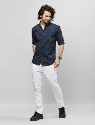 River Blue solid trend navy shirt in cotton