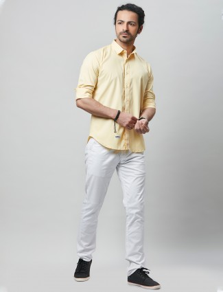 River Blue solid yellow cotton casual wear for mens shirt