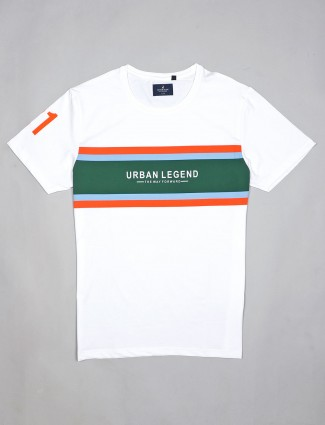 River Blue stripe casual wear white t-shirt