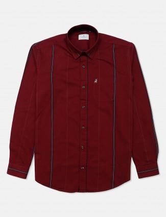 River Blue stripe maroon cotton shirt