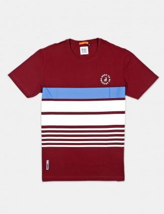 River Blue stripe maroon cotton t-shirt