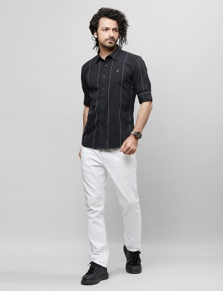 River Blue stripe style black shirt