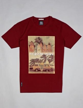 River Blue trendy maroon printed cotton t-shirt