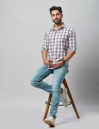 River Blue white cotton casual wear shirt