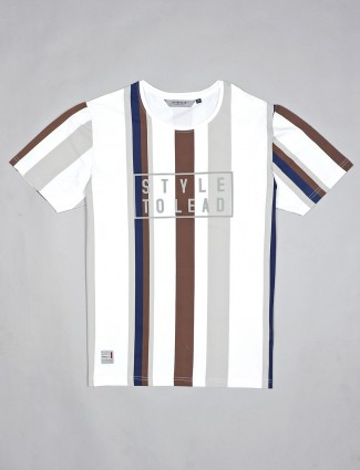 River Blue white stripe half sleeves t-shirt