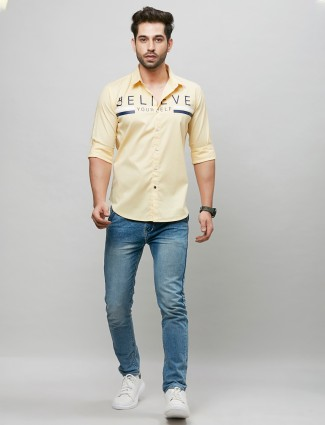 River Blue yellow printed cotton casual shirt