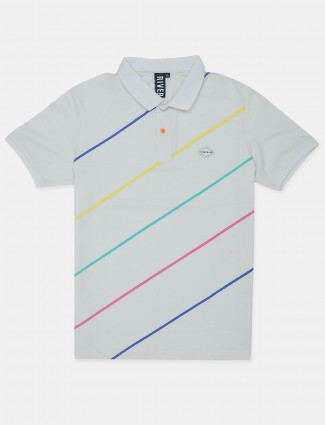 Riverblue stripe style cream shade cotton casual t-shirt