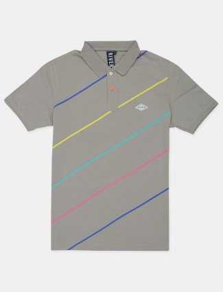 Riverblue stripe style grey shade cotton t-shirt